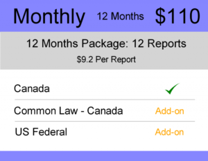 Canada Trademark Watch Package : Monthly 12 Months