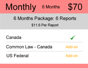 Canada Trademark Watch Package : Monthly 6 Months