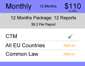 Europe Trademark Watch Package : Monthly 12 Months