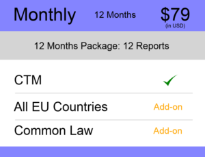 Europe Trademark Watch Package Monthly 12 Months