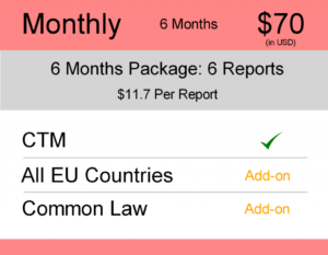 Europe Trademark Watch Package : Monthly 6 Months