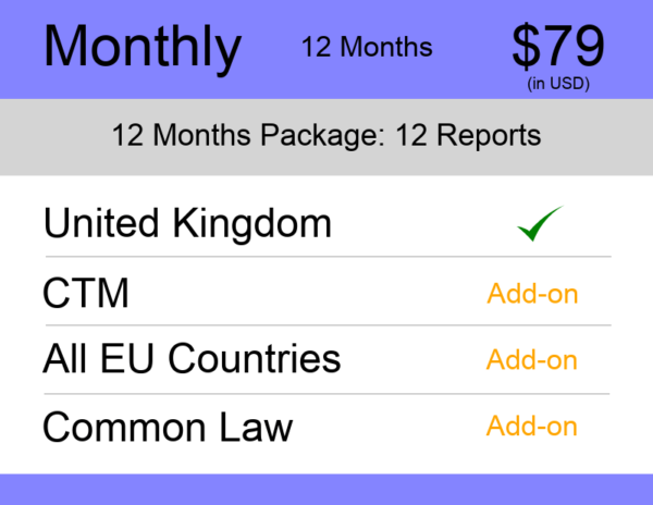 UK Trademark Watch Package Monthly 12 Months