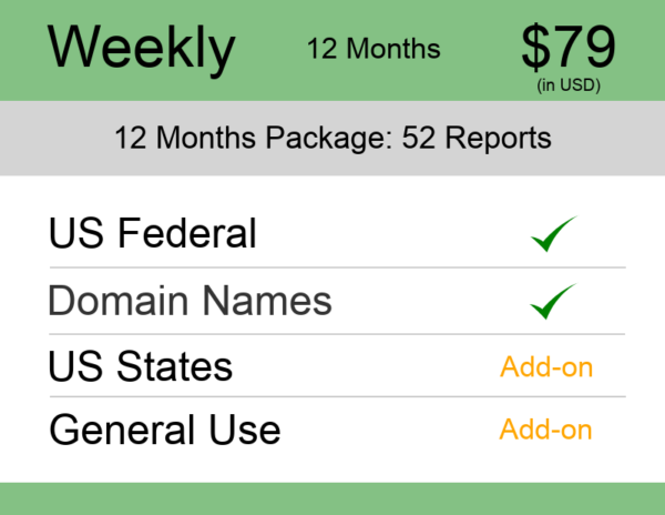 US Trademark Watch Package Weekly 12 Months