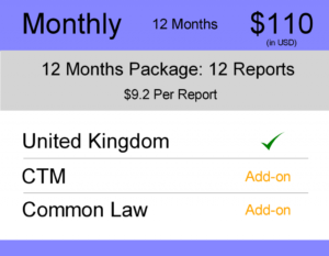 United Kingdom (UK) Trademark Watch Package : Monthly 12 Months