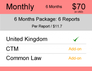 United Kingdom (UK) Trademark Watch Package Monthly 6 Months